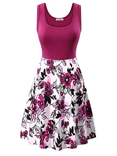 VETIOR Floral Print Work Dress, Ladies Spring Midi Dress Scoop Neck Vintage Graduation Dresses