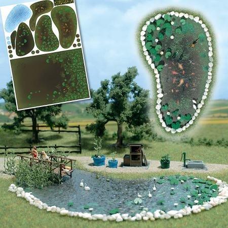 Busch 1210 Garden Pond Set HO Scale Scenery Kit (Ho Scale Accessories)