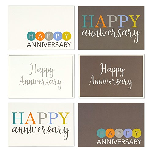 36-Pack-Happy-Anniversary-Greeting-Cards-6-Modern-Multi-Color-Embellished-Style-Designs-Bulk-Box-Set-Variety-Assortment-Envelopes-Included-4-x-6-Inches