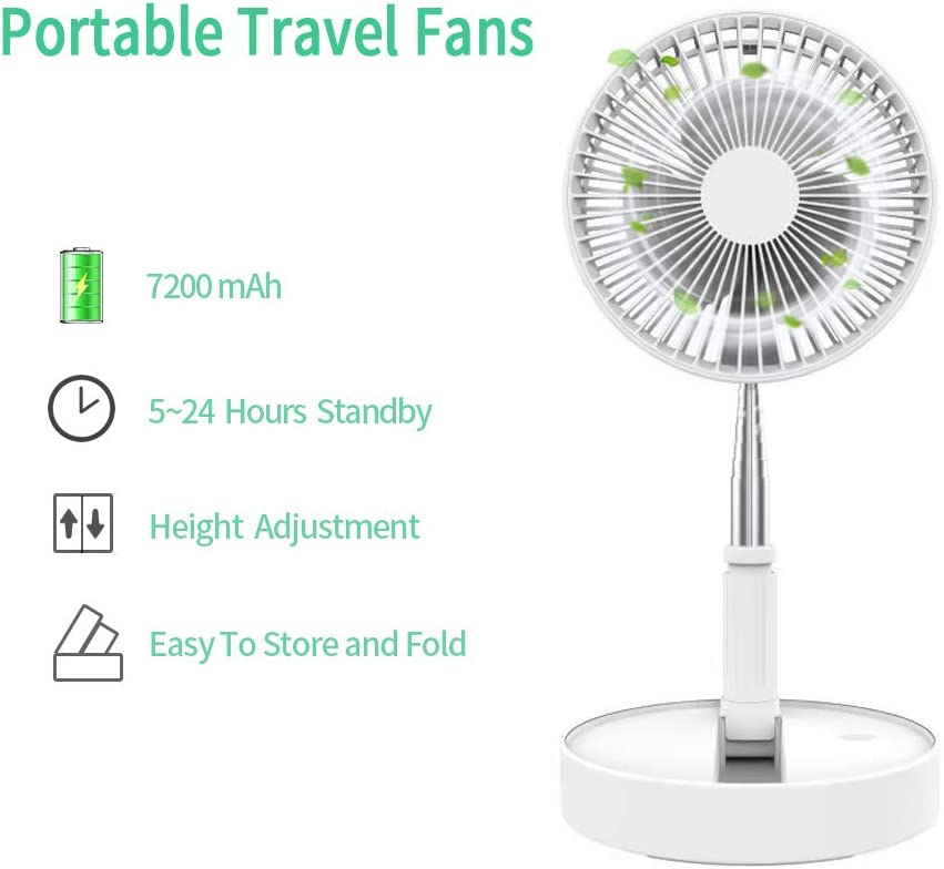 ETEKYER USB Desk Fan, Folding Telescopic Table Floor Fan, Rechargeable Battery Operated Fan with 4 Speeds, Portable Travel Mini Fan with 5-24 Hours Battery Life for Camping and Picnic