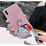 Cfrau 2 in 1 Glitter Case with Black Stylus for Samsung Galaxy A8 2018,Luxury Crystal Diamond Makeup Oval Mirror Soft TPU Case with 360 Ring Holder Kickstand for Samsung Galaxy A8 2018,Pink