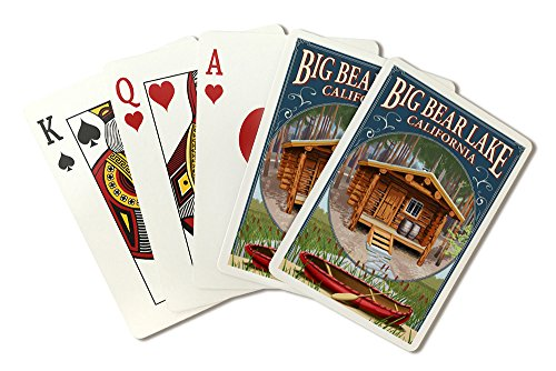 Big Bear Lake, California - Cabin in Woods Montage (Playing Card Deck - 52 Card Poker Size with Jokers) by Lantern Press