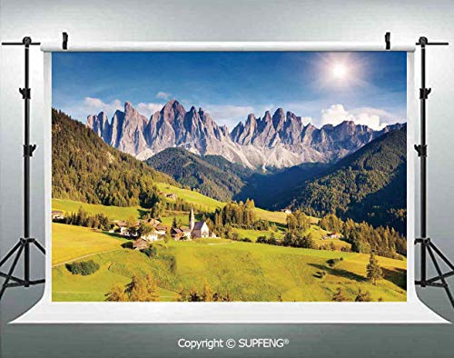 Background Village View with Lined Mountain Peaks and Meadow Northern European Alps Art 3D Backdrops for Interior Decoration Photo Studio Props