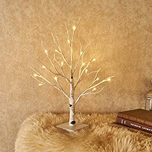 Hairui Tabletop Lighted Tree Pre-lit Artificial Decorative Tree Lights Bonsai Battery Powered with 24LED Warm White 18in for Indoor Outdoor Home Christmas Garden Party Wedding Decoration 22
