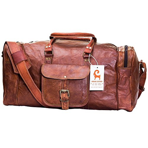 Handmade Leather Travel Duffle Bag Vintage Style Overnight Bag Size 20 Inch by Urban Leather (Image #4)