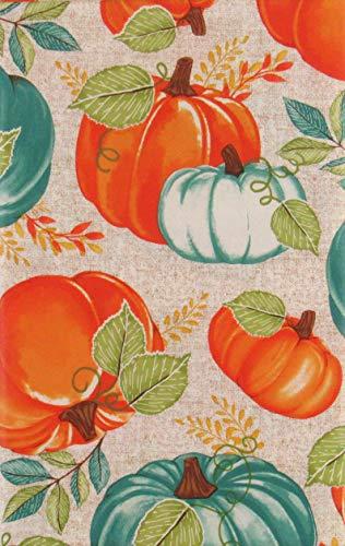 Mainstream International Autumn Harvest Orange and Blue Pumpkins with Vine Leaves Vinyl Flannel Back Tablecloth (52