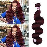 virgin wines - Top Hair Peruvian Body Wave Weave Hair one Bundle Wine Red #99J Virgin Human Hair Wefts Hair Extensions Deal with Medium Abburn 100% Human Hair Extensions 14 inch