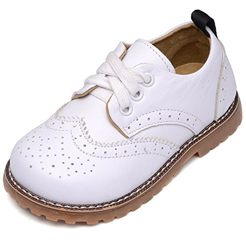 UBELLA Toddler Boys Girls Breathable Hollow Leather Lace Up Flats Oxfords Dress Shoes White]()