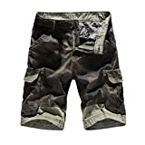 Realdo Men's Casual Shorts, Slack Loose Button Zipper Camouflage Pants with Pocket(Army Green,34)