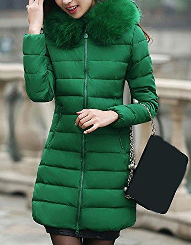 Parka con Las Scothen señoras Winter Green sintética Capucha Capucha Autumn Acolchada Winter Larga Warm Chaqueta Capucha de Parka Coat Piel Invierno Chaqueta Ladies Jacket wHHq4dT