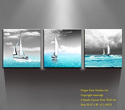 "Canvas Prints Wall Art- ""Sailing Yacht"" Modern Landscape Oil Paintings Pictures Artwork for Wall Decor /Home Decoration-Nuolan Art -P3L3030-008"