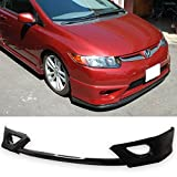 Front Bumper Lip Fits 2006-2008 Honda Civic | HF-P Style Black PU Front Lip Finisher Under Chin Spoiler Add On by IKON MOTORSPORTS | 2007