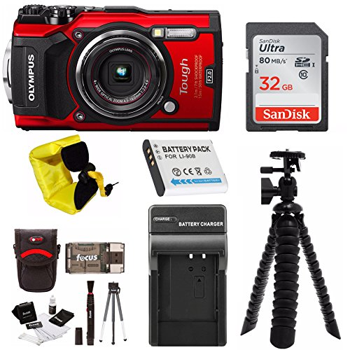 Olympus TG-5 Waterproof Digital Camera (Red) w/ 32GB SD Card, Spare Battery, Extra Charger, Case, & More Holiday Bundle