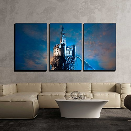 wall26 - 3 Piece Canvas Wall Art - Old Castle on The Hill - Modern Home Decor Stretched and Framed Ready to Hang - 16