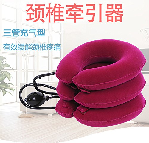 FM Inflatable air Pillow Neck Pain Cervical Traction Head Support Springs fire Device for Head The Back Shoulder Neck Pain Health Red
