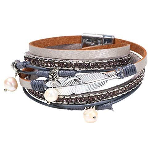 Clearance! Hot Sale! ❤ Multi Layer Leather Bracelet Braided Wrap Cuff Bangle Alloy Magnetic Clasp Handmade Under 5 Dollars Valentine's Day Gifts for Girlfriend/Boysfriend 2019 New ()