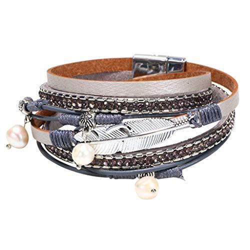 Bracelet Multi Layer Leather Bracelet Braided Wrap Cuff Bangle Alloy Magnetic Clasp Handmade
