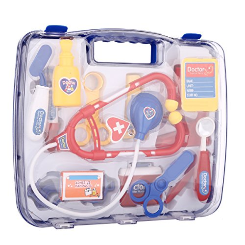 SZJJX Deluxe Puzzle Simulation Medicine Box Doctor Toys Set Kids Pretend Play Doctor Set Doctor Nurse Medical Kit Playset for Kids Child Care Box Doctor Tools Toys - Blue - Kid Kit Box