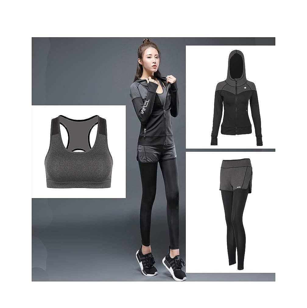 gris 3 Sets1 L Combinaison de Sport à séchage Rapide VêteHommests de Yoga VêteHommests de Fitness VêteHommests de Sport pour Femmes