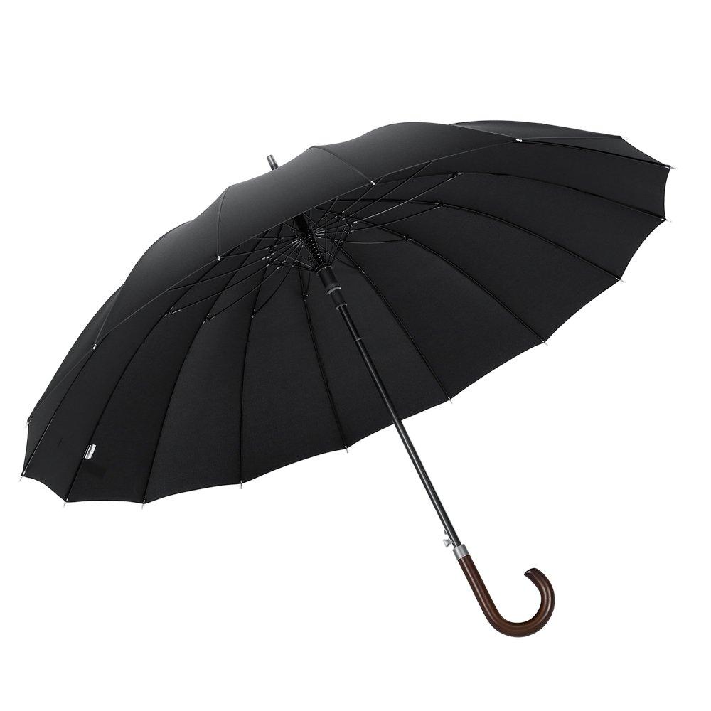 Plemo Parapluie Canne Noir 16 Baleines Résistant Au Vent et Imperméable, Ouverture Automatique avec Poignée en Bois, Grande Taille 47.2''/120 cm Diamètre pour 2-3 Gens ZB27-B
