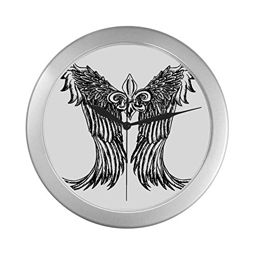 C COABALLA Medieval Simple Silver Color Wall Clock,Tribal Wing Design Magic Spell Middle Ages Symbol of Power Artistic Design for Home Office,9.65
