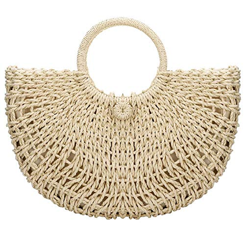 - EROUGE Women Straw Handbag Weave Summer Beach Rattan Bag Hand-woven Straw With Inner (White)