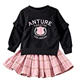 Zerototens Girls Sweatshirt Dress Set,1-6 Years Old Children Baby Girls Long Sleeve Print Pullover Tops+Plaid Mini Skirt Children Outfits Set Casual Clothes (3-4 Years Old, Pink)