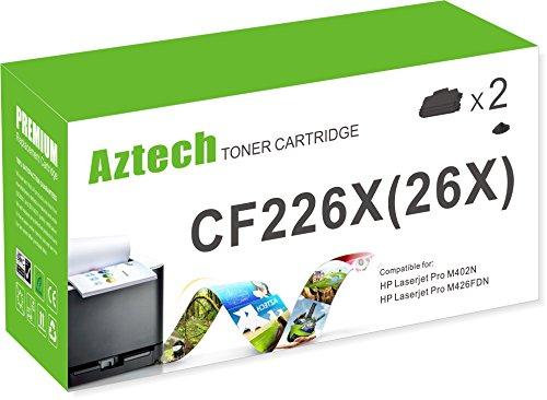 Aztech 2 Pack Black 26A Cf226A 26X Cf226X Toner Cartridge Replacement For Laser Jet Laserjet Pro M402N M402Dn M426Fdw M426Fdn M402 M402Dw M426 Printer