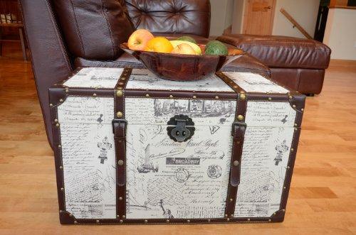 Styled Shopping Decorative New York Medium Wood Steamer Trunk Wooden Treasure Hope ()