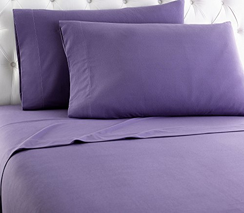 Thermee Micro Flannel Sheet Set, Purple, Full