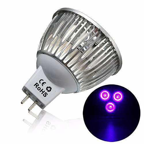 3W MR16 LED Ultraviolet Color Purple Light Flashlight Bulb Lamp Torch AC/DC - Malls Outlet Dc