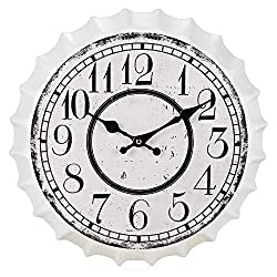 JYPYH Wall Clock 35Cm Beer Soda Bottle Cap Wall Clock with Vintage Kensington Station Rustic Prints European Retro Nostalgic Style Wall Clock for in Living Room Bedroom Office School,B