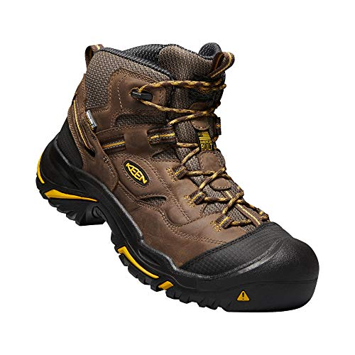 KEEN Utility - Men's Braddock  Mid Waterproof (Steel Toe) Work Boots, Cascade Brown/Tawny Olive, 10 D