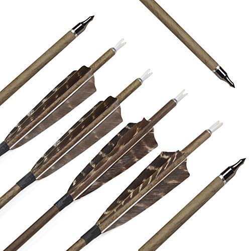 MILAEM 6 Pack 30 Inch Archery Hunting Pure Carbon Arrows Spine 350 Wooden Grain Carbon Shaft with 4 Inch Real Turkey Feather and Replacement Screw-in 100 Grain - Camo Carbon Arrows