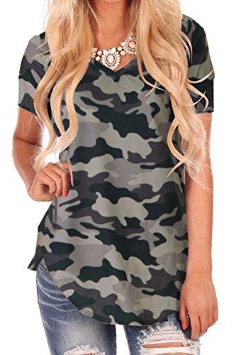 NIASHOT Plus Size Tops for Women Short Sleeve T Shirts V Neck Blouses Camo (Camo V-neck Tee)