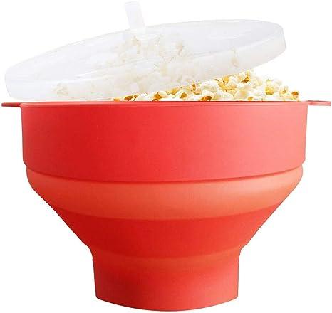 Popcorn Popcorn Popper Bol A Popcorn En Silicone Pour La Maison Bol Pliable Avec Couvercle Et Poignees Pour Pop Corn Fait Maison Rouge Amazon Ca Maison Et Cuisine