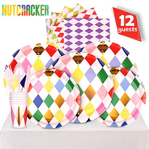 (Partybus Party Supplies Set - Serves 12, 85 Ct, Christmas Nutcracker Theme Party Disposable Tableware Kit for Boys Girls Kids Birthday Decorations, Includes Dinner Plates, Dessert Plates, Napkins, Cups, Table Cloth, Silverware)