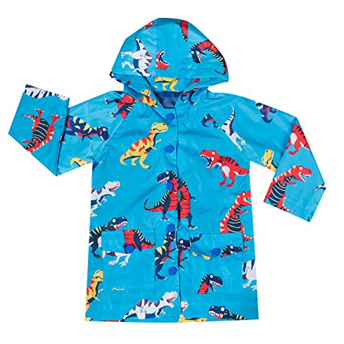 Cris Ti Na Boys' Printed Waterproof Hooded Raincoat Splash Jacket Outwear Blue - Jacket Ti