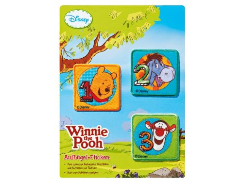 Winnie the Pooh 3 Different Iron On Patches Square