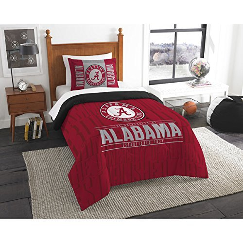 2pc NCAA Alabama Crimson Tide Comforter Twin Set, Fan Merchandise, Team Logo, College Football Themed, Red Grey, Sports Patterned Bedding, Team Spirit
