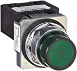Siemens 52PL4M3 Heavy Duty Pilot Light, Water and Oil Tight, Plastic Lens, Integrated LED Module, Green, 120VAC Voltage