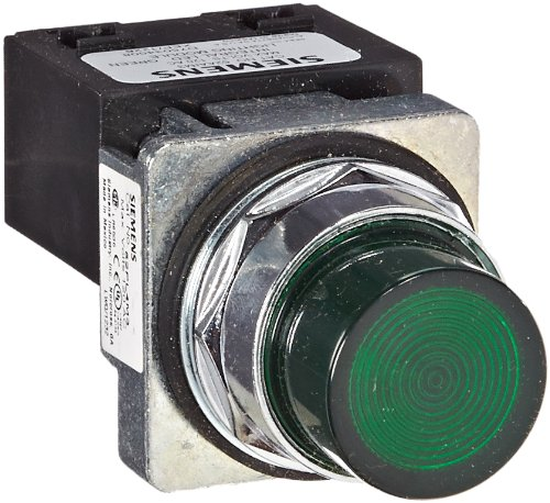Siemens 52PL4M3 Heavy Duty Pilot Light, Water and Oil Tight, Plastic Lens, Integrated LED Module, Green, 120VAC Voltage by Siemens