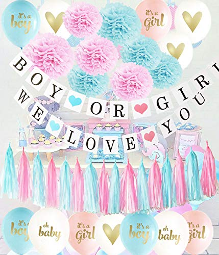 Gender Reveal Party Supplies Pink Blue Ballons/Tissue Pom Pom/Boy or Girl Banner Pink Blue Tassel Garland Birthday Party/Baby Shower Decorations/Pink Blue Decorations /Gender Reveal -