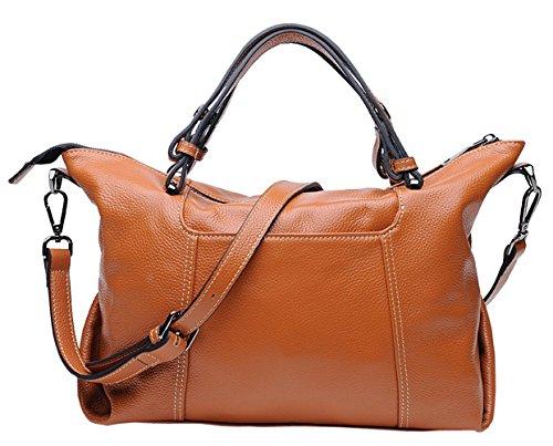SAIERLONG New Womens Yellow Genuine Leather Handbags Shoulder Bags