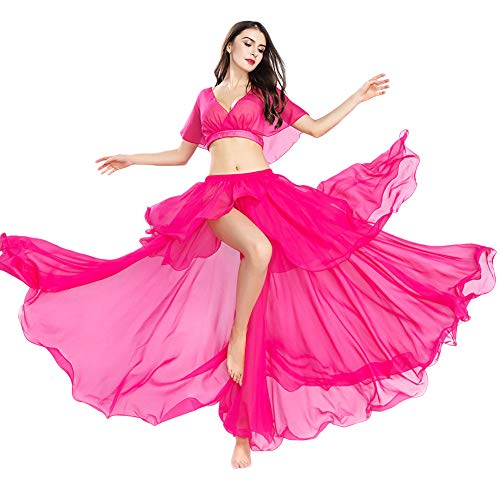 ROYAL SMEELA Chiffon Belly Dance Costume Set for Women, One Size, Belly Dancing Skirt Dance Dress, Hot Pink, 11 Colors
