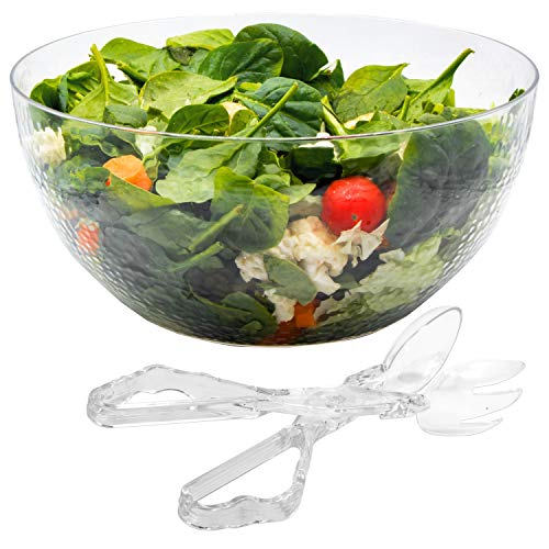 140 oz Salad Serving Bowl With Plastic Tongs Set Disposable Clear Glass Look