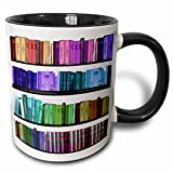 3dRose Colorful Bookshelf Books Rainbow Bookshelves Reading Book Geek Library Nerd Librarian Author Two Tone Black Mug, 11 oz, Black/White
