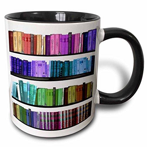 3dRose Colorful Bookshelf Books Rainbow Bookshelves Reading Book Geek Library Nerd Librarian Author Two Tone Black Mug, 11 oz, Black/White from 3dRose
