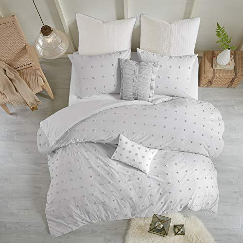 Urban Habitat Brooklyn 5 Piece Cotton Jacquard Duvet Set Bedding Cover, Twin/TXL Size, Grey