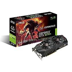 Asus Cerberus Geforce Gtx 1070 Ti 8gb Gddr5 Advanced Edition Vr Ready Dp Hdmi Dvi Gaming Graphics Card (Cerberus-gtx1070ti-a8g)